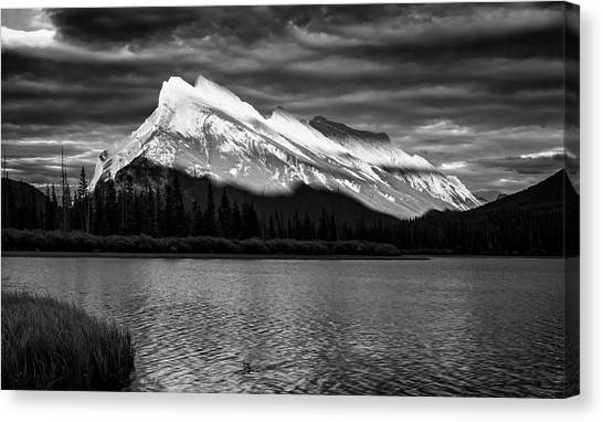 Treeline Canvas Print - Vermillion Lakes And Mt Rundle Bw by Joan Carroll
