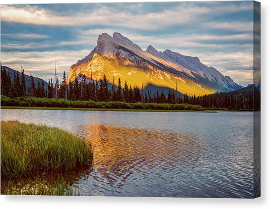 Treeline Canvas Print - Vermillion Lakes And Mt Rundle II by Joan Carroll
