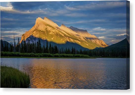 Treeline Canvas Print - Vermillion Lakes And Mt Rundle by Joan Carroll