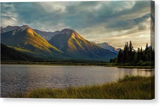 Treeline Canvas Print - Vermillion Lakes Sunset by Joan Carroll