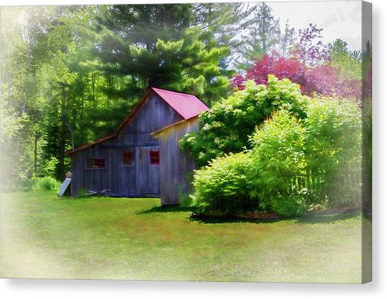 Old Plank Tables Canvas Print - Vermont Barn 2 by Terry Davis