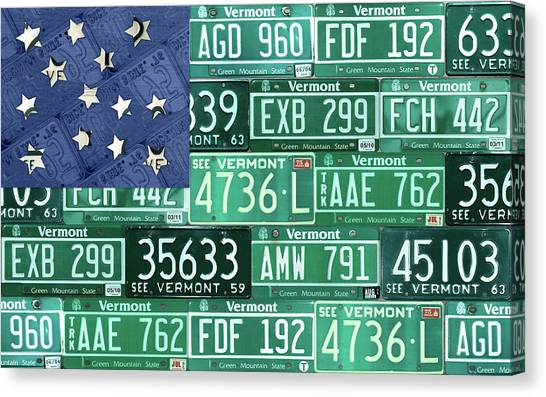 National Guard Canvas Print - Vermont National Guard Flag Vintage Recycled License Plate Art by Design Turnpike