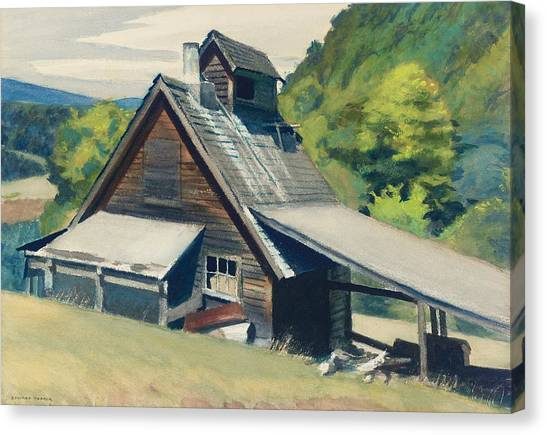 Wooden Canvas Print - Vermont Sugar House by Edward Hopper
