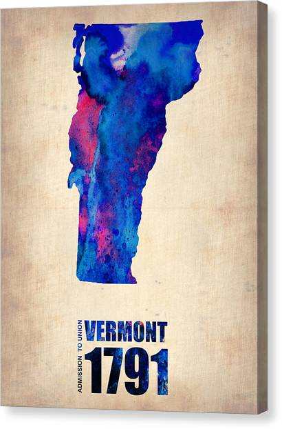 Vermont Canvas Print - Vermont Watercolor Map by Naxart Studio
