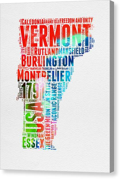 4th Of July Canvas Print - Vermont Watercolor Word Cloud  by Naxart Studio