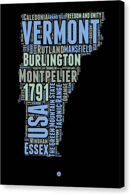 Vermont Canvas Print - Vermont Word Cloud 1 by Naxart Studio