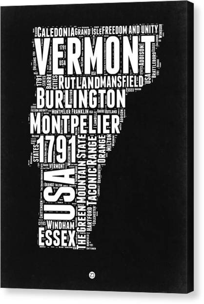 Vermont Canvas Print - Vermont Word Cloud Black And White Map by Naxart Studio