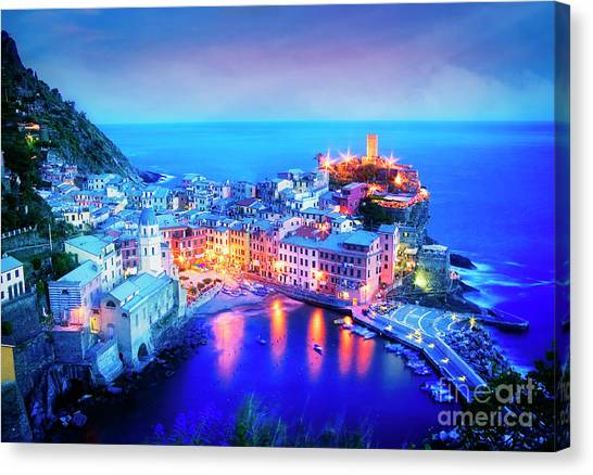 Canvas Print featuring the photograph Vernazza At Dusk by Scott Kemper