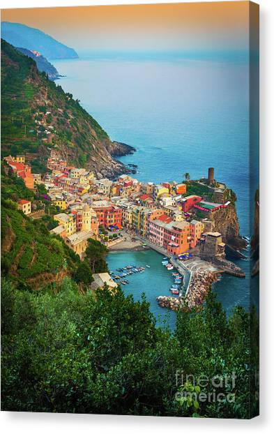 Ocean Sunsets Canvas Print - Vernazza From Above by Inge Johnsson
