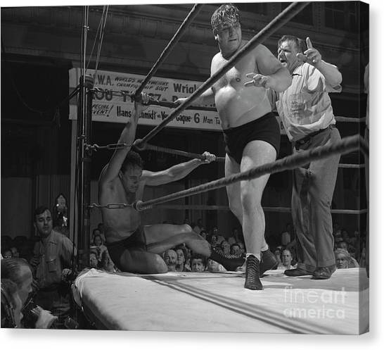 Wrestling Canvas Print - Verne Gagne, At Left, And Johnny Moochie, 1952 by The Harrington Collection