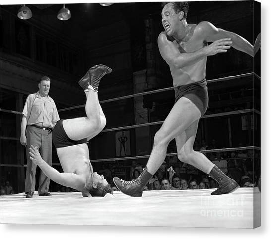 Wrestling Canvas Print - Verne Gagne, At Right, In A Wrestling Match In 1952 by The Harrington Collection