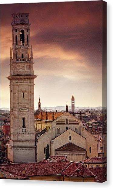Terracotta Canvas Print - Verona Cathedral From St Peter's Hill  by Carol Japp