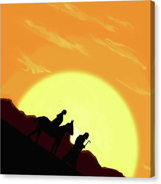 Donkeys Canvas Print - Version 2 #joseph #mary #donkey by Kidface Anbessa-Ebanks