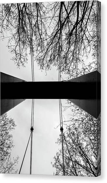 Canvas Print featuring the photograph Vertical Bridge In Bw by Nikos Stavrakas