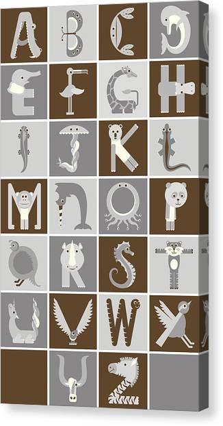 Vertical Neutral Animal Alphabet Complete Poster Canvas Print