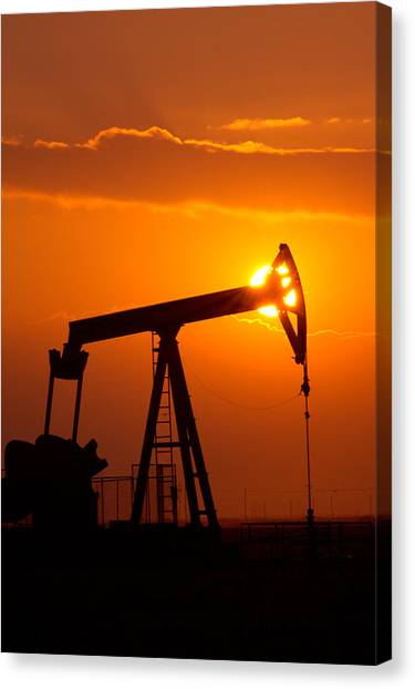 Vertical Oil Rig Sunset Canvas Print
