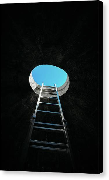 Vertical Step-ladder On Ceiling Window  Canvas Print