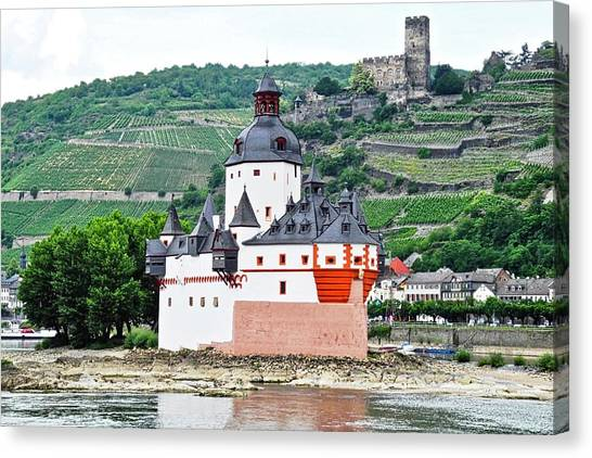 Vertical Vineyards And Buildings On The Rhine Canvas Print