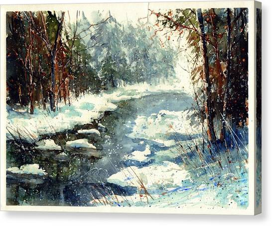 Countryside Canvas Print - Very Cold Winter Watercolor by Suzann Sines