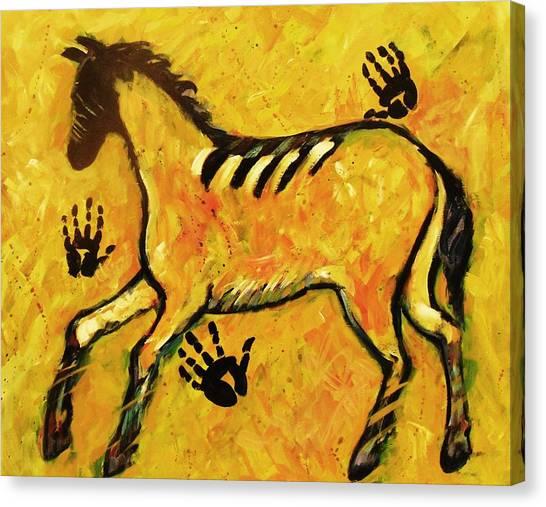 Very Primitive Wild Horse Painting Canvas Print