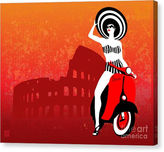 Bikini Canvas Print - Vespa Girl by Sassan Filsoof