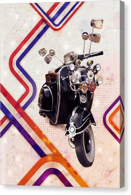 Italian Canvas Print - Vespa Mod Scooter by Michael Tompsett