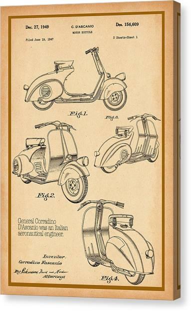 Vespa Patent Drawing Canvas Print