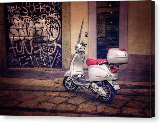 Classic Cycle Canvas Print - Vespa Scooter In Milan Italy  by Carol Japp