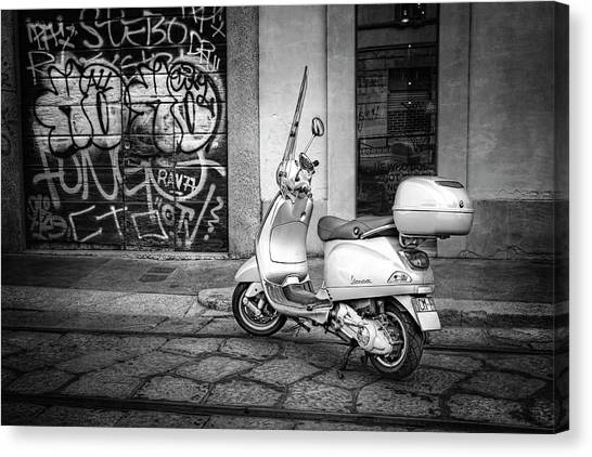 Classic Cycle Canvas Print - Vespa Scooter In Milan Italy In Black And White  by Carol Japp
