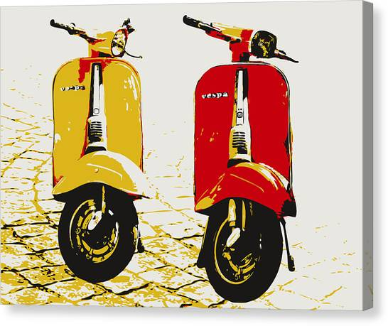Pop Art Canvas Print - Vespa Scooter Pop Art by Michael Tompsett