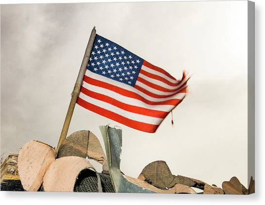 Red Camo Canvas Print - Veterans Day Flag by SR Green