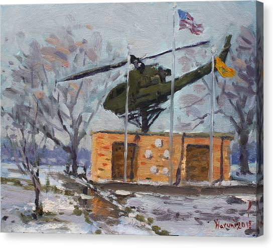 Helicopter Canvas Print - Veterans Memorial Park In Tonawanda by Ylli Haruni