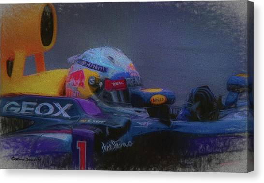 Finish Line Canvas Print - Vettel And Redbull by Marvin Spates