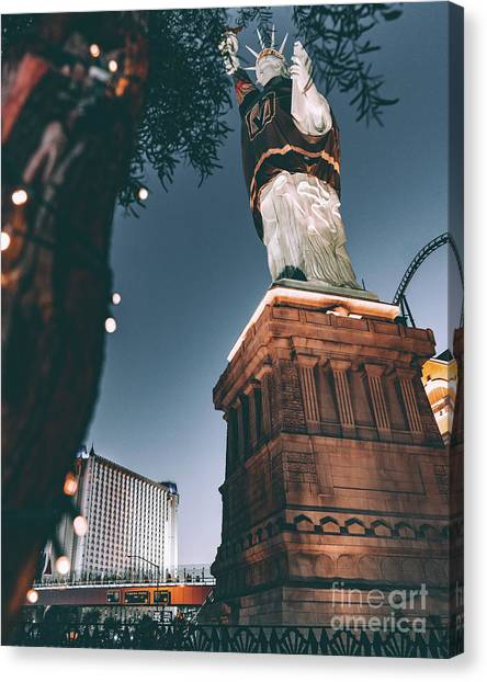 Vegas Golden Knights Canvas Print - Vgk Jersey On Statue Of Liberty by Edgar Lara