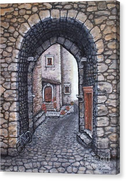 Via In Santo Stefano Canvas Print