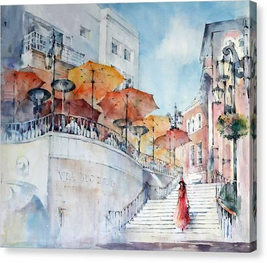 208 Rodeo Restaurant - Via Rodeo - Beverly Hills Canvas Print by Natalia Eremeyeva Duarte