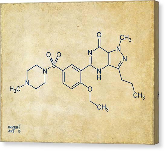 Molecule Canvas Print - Viagra Molecular Structure Vintage by Nikki Marie Smith