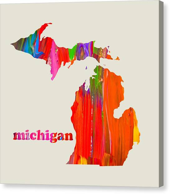 Michigan State University Canvas Print - Vibrant Colorful Michigan State Map Painting by Design Turnpike