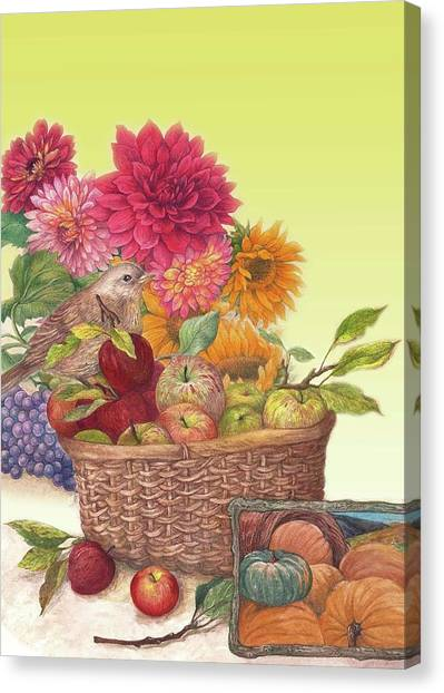 Vibrant Fall Florals And Harvest Canvas Print