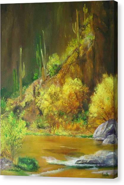 Vibrant Landscape Paintings  - Arizona Canyon Scene - Virgilla Art Canvas Print by Virgilla Lammons