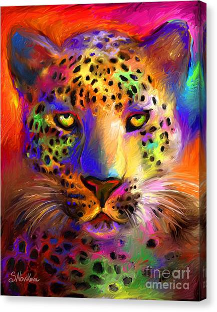 Vibrant Leopard Painting Canvas Print