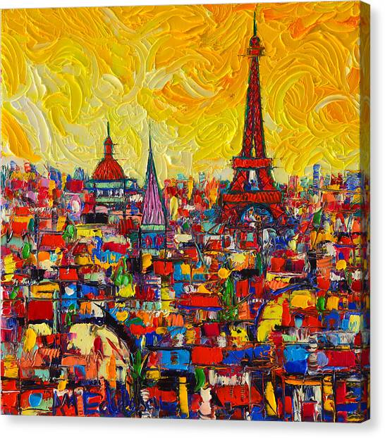 Vibrant Paris Abstract Cityscape Impasto Modern Impressionist Palette Knife Oil Ana Maria Edulescu Canvas Print