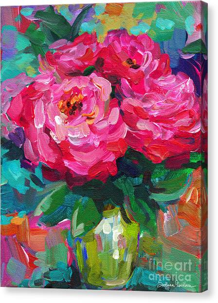 Canvas Print - Vibrant Peony Flowers In A Vase Still Life Painting by Svetlana Novikova