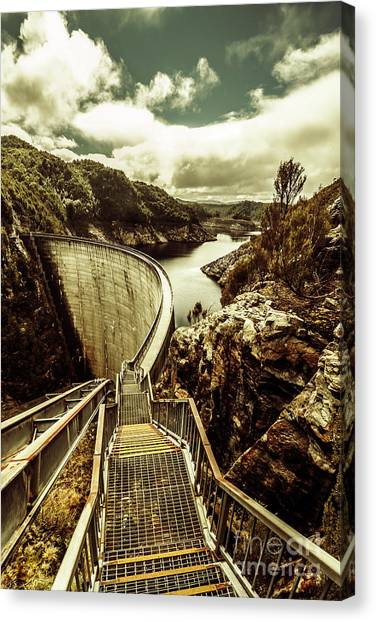 No People Canvas Print - Vibrant River Dam by Jorgo Photography - Wall Art Gallery