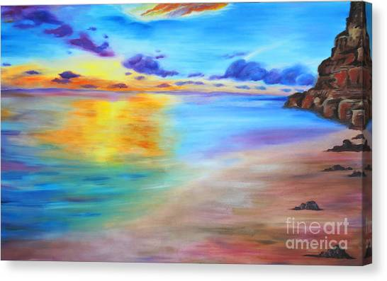 Rocky Sunset Shore Canvas Print