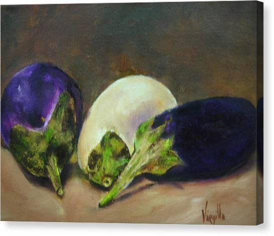 Vibrant Still Life Paintings - Eggplants Canvas Print by Virgilla Lammons