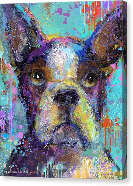 Vibrant Whimsical Boston Terrier Puppy Dog Painting Canvas Print