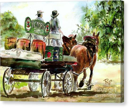 Victoria Bitter, Working Clydesdales. Canvas Print