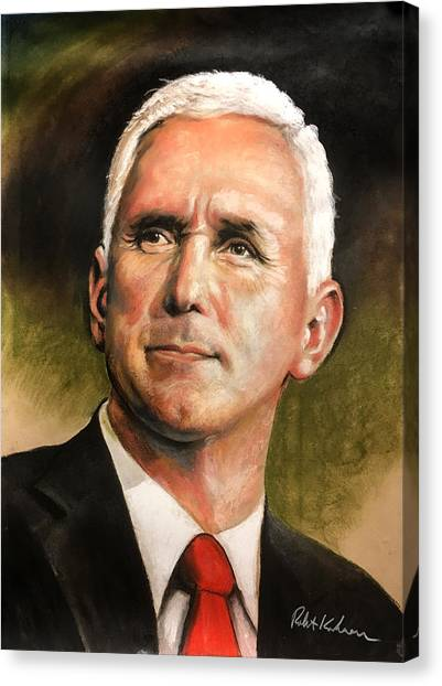 Mike Pence Canvas Print - Vice President Mike Pence Portrait by Robert Korhonen
