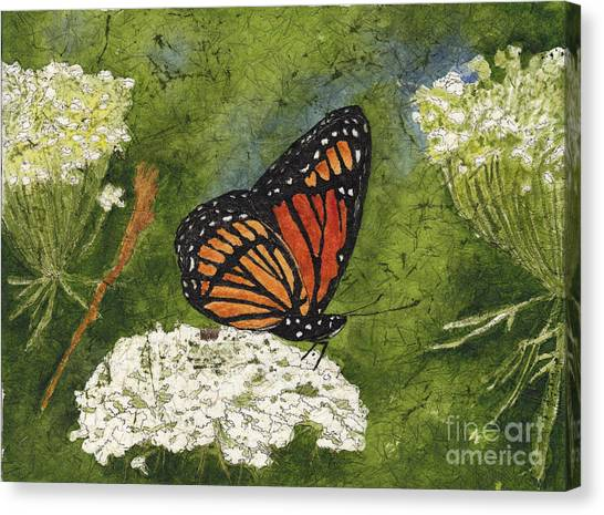 Viceroy Butterfly On Queen Anne's Lace Watercolor Batik Canvas Print